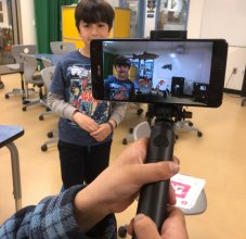 student using augmented reality